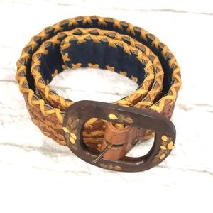 Hand Made Women's Leather Belt Wooden Buckle